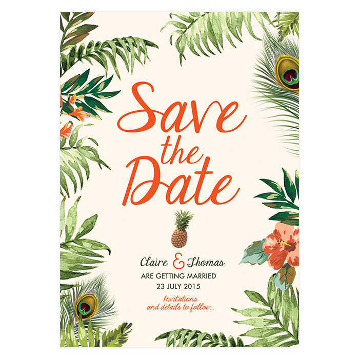 Tropical Jungle - Save the Date - Custom and Unique Wedding Invitations and Save the Date ...