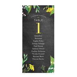 Printed table plan for rustic wedding. Floral design