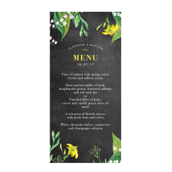 Flowers and chalkboard Rustic and botanical wedding menu