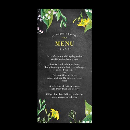 invitation-mariage-personnalise-champetre-jaune-muguet-fleurs-menu-rectoUK