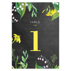 Custom table name for rustic and botanical wedding.