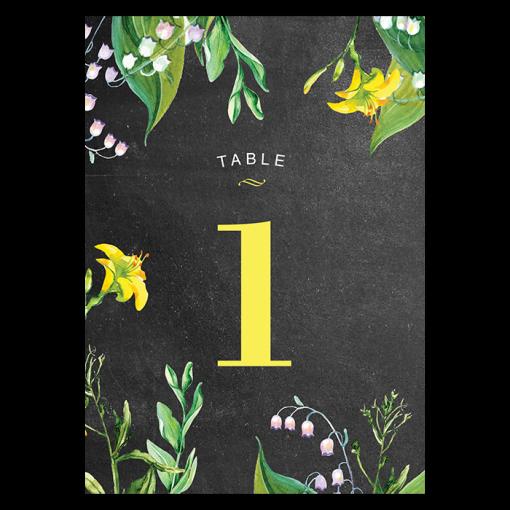 invitation-mariage-personnalise-chanmpetre-jaune-muguet-fleurs-numero-table-recto