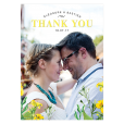 Thank you card for rustic wedding, yellow and white flowers