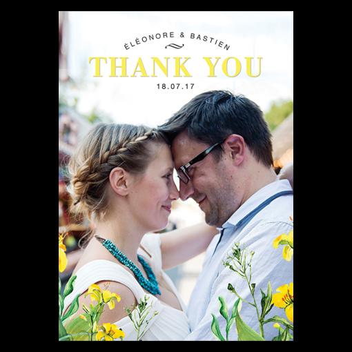 invitation-mariage-personnalise-chanmpetre-jaune-muguet-fleurs-remerciements-rectoUK