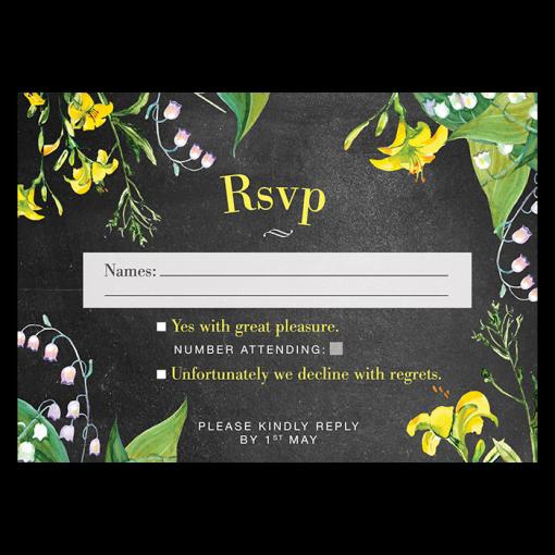 invitation-mariage-personnalise-chanmpetre-jaune-muguet-fleurs-rsvp-rectoUK