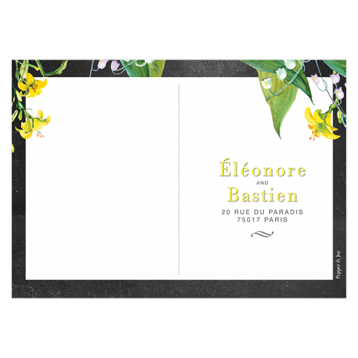Rustic chic and floral rsvp postcard for wedding invitations.