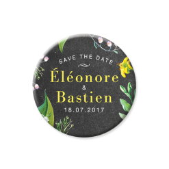 Rustic save the date magnet. Yellow and white flowers.