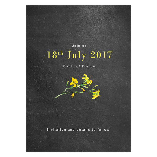 rustic yellow flowers- wedding save the date
