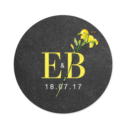 Rustic abd botanical stichker for wedding. Wedding logo with a yellow flower.