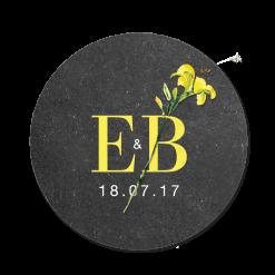Rustic abd botanical stichker for wedding. Wedding logo with a yellow flower.