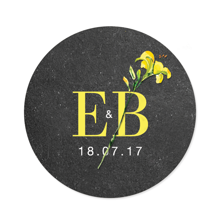 botanical wedding sticker with your logo and a yellow flower. Black Bedroom Furniture Sets. Home Design Ideas