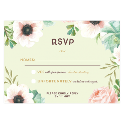 Custom wedding response card invitation. Watercolor flowers