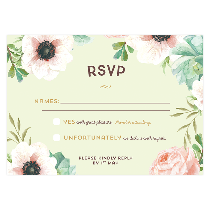 Custom Wedding Response Card Invitation Watercolor Flowers Pink And