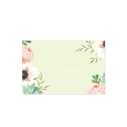 Custom wedding place card with watercolor flowers in pink and mint.