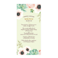 Custom wedding menu with watercolor flowers. Pink and pale green.