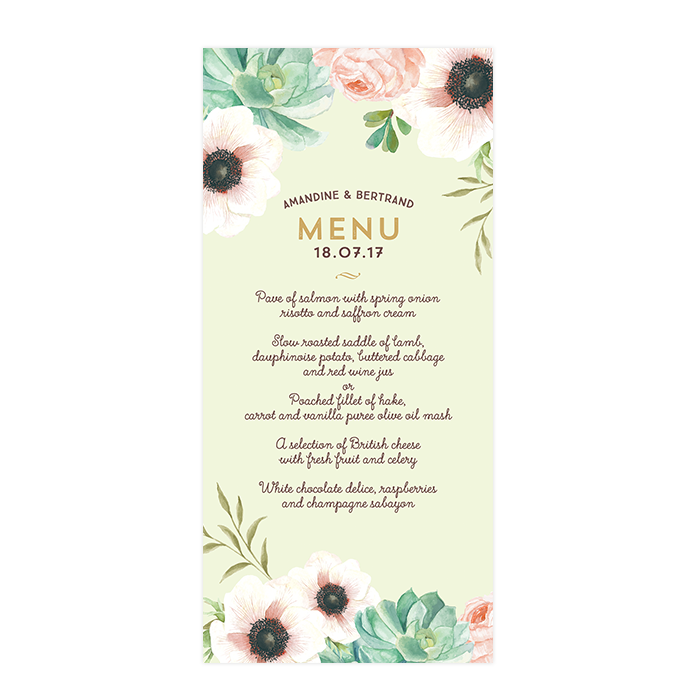 Custom wedding menu with watercolor flowers Pink and Mint