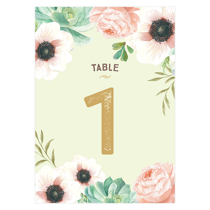 custom wedding table number card pink and mint flowers. Black Bedroom Furniture Sets. Home Design Ideas