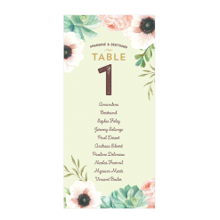 Custom wedding table plan cards with watercolor flowers.