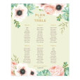 Custom wedding table plan poster with watercolor flowers