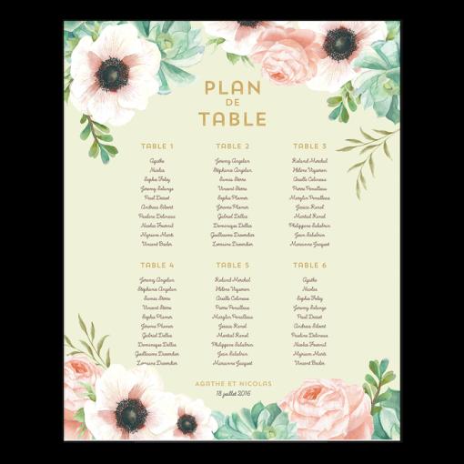 invitation-mariage-personnalise-fleurs-pink-mint-bouquet-plan-table-poster