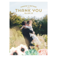 Custom wedding thank you card with watercolor flowers. Postcard with your photo