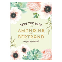 Custom save the date for wedding. Watercolor flowers