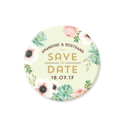 Wedding magnet, custom save the date with watercolor flowers
