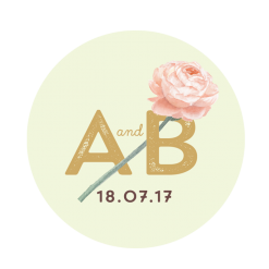 Custom wedding sticker with the logo of the married couple.