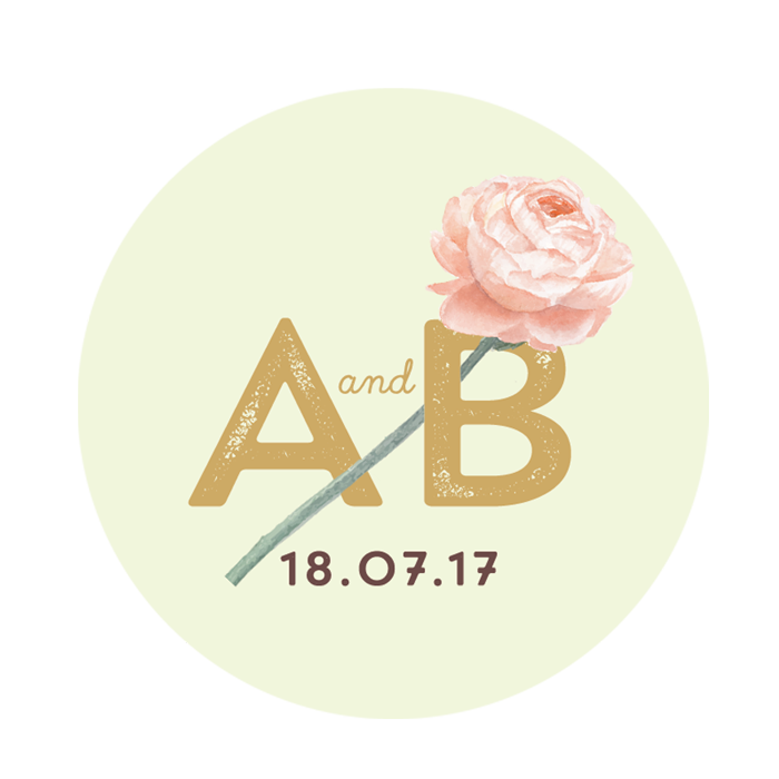 custom wedding sticker with a watercolor flower and the logo of the