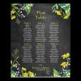 Printed wedding plan poster. Botanical design.