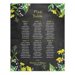 Printed wedding plan poster. Botanical design.