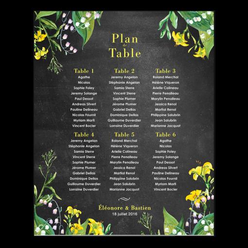 plan-table-mariage-impression-poster-fleurs-lys-jaune-ardoise-noir-muguet-champetre