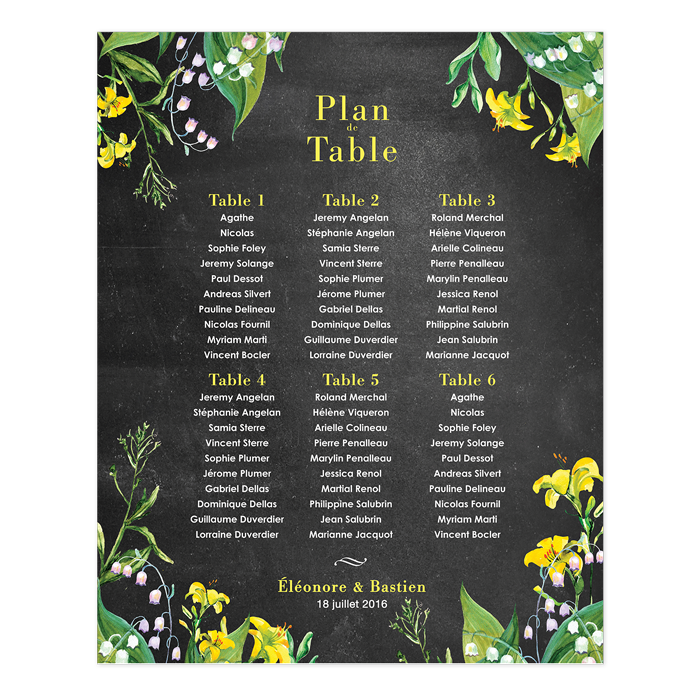 Printed wedding table plan poster floral design - Fleurs table mariage ...