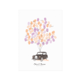 London taxi wedding guest book personnalized, watercolor illustration