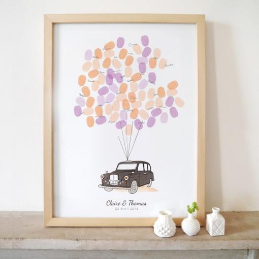 London taxi wedding guest book, fingerprint poster