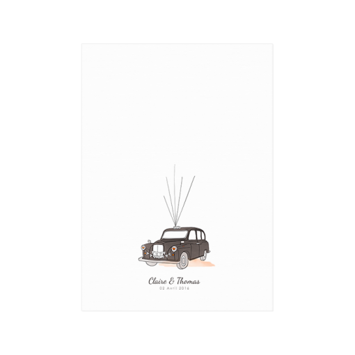 Custom London taxi wedding guest book finger print poster