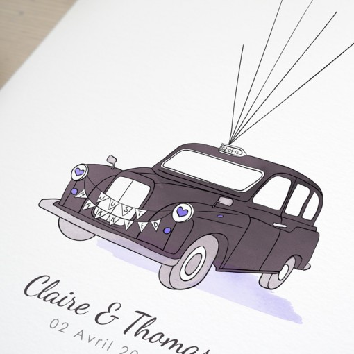 London taxi wedding guest book blue and purple