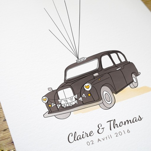 London taxi wedding guest book yellow and orange