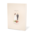 Bespoke wedding guest book with the bride and groom illustration