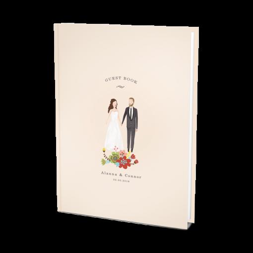 Custom-wedding-guest-book-album-with-bespoke-portrait-of-groom-and-bride