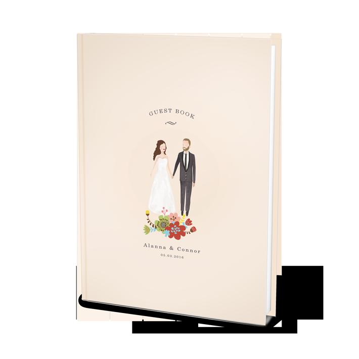 Custom Wedding Guest Book Al With Bespoke Portrait