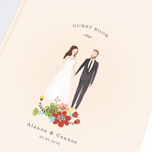 Bespoke wedding guest book with the illustrated portrait of groom and bride