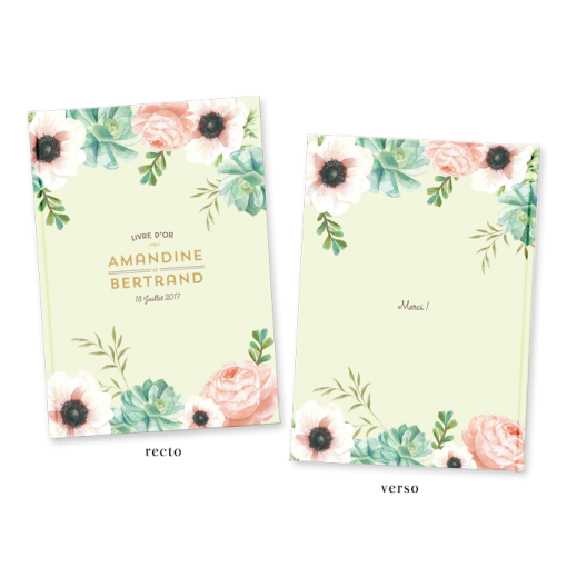 Custom wedding guest book, pink mint flowers