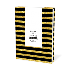 Wedding guest book albul, balck and gold stripes