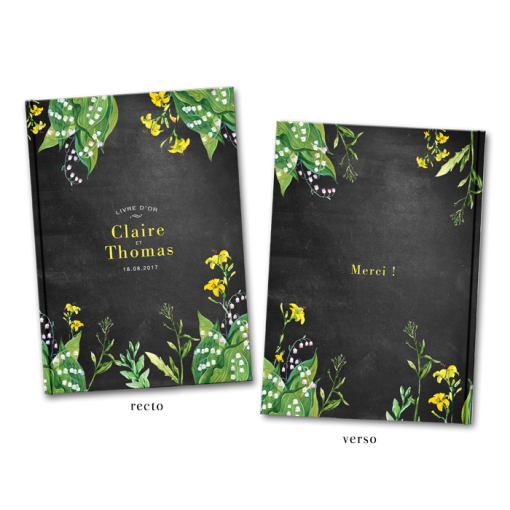 Custom wedding guest book, yellow flowers