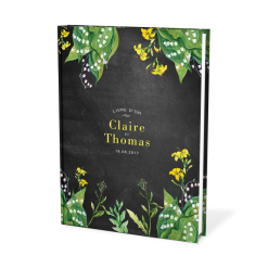 Custom wedding guest book, yellow flowers and black background