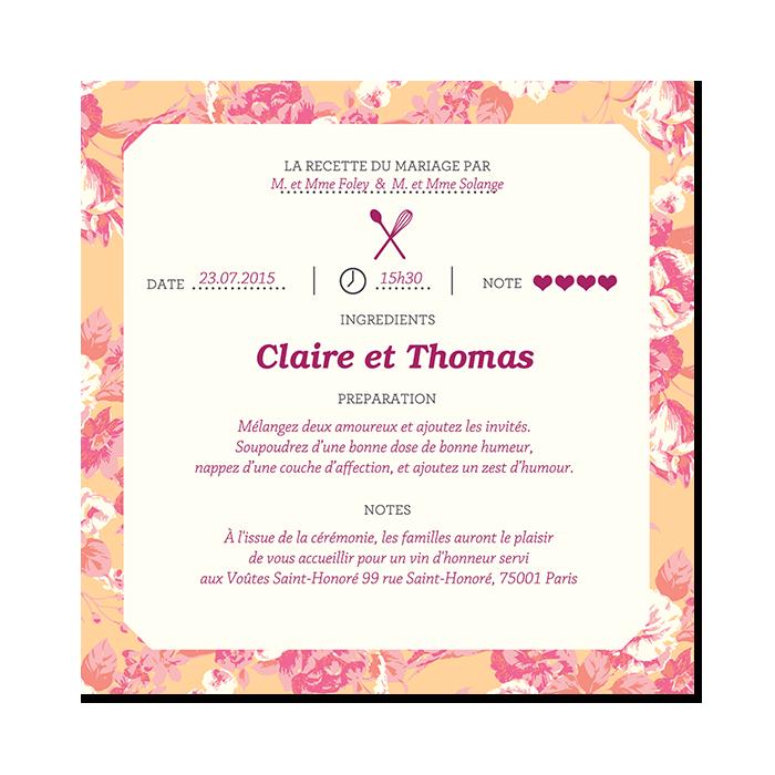 Invitation mariage unique pour les pâtissiers et cuisiniers