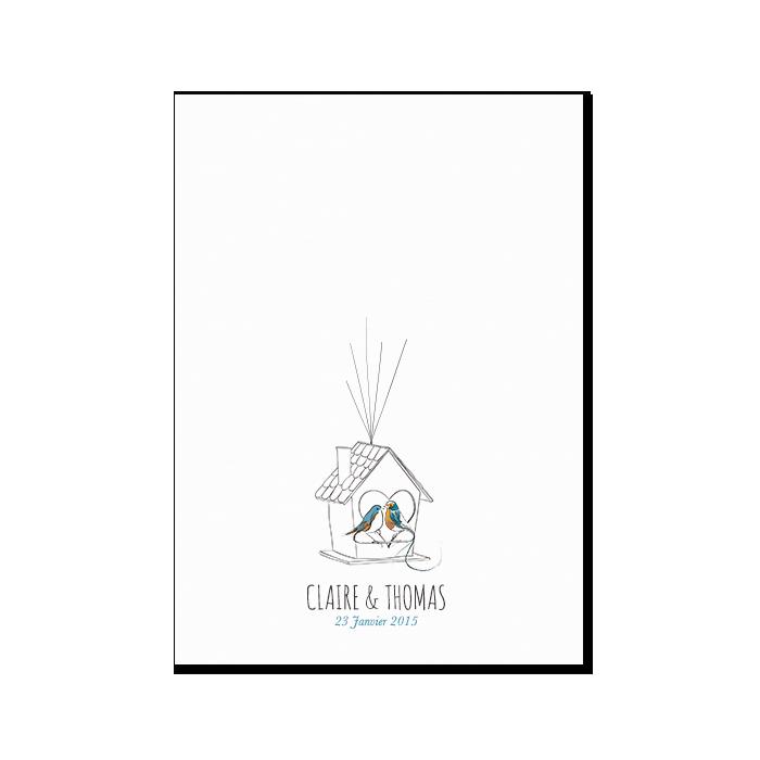 livre d 39 or de mariage empreintes poster personnalis oiseaux. Black Bedroom Furniture Sets. Home Design Ideas