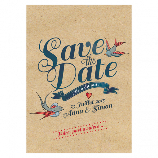 Save the date mariage kraft tatoo