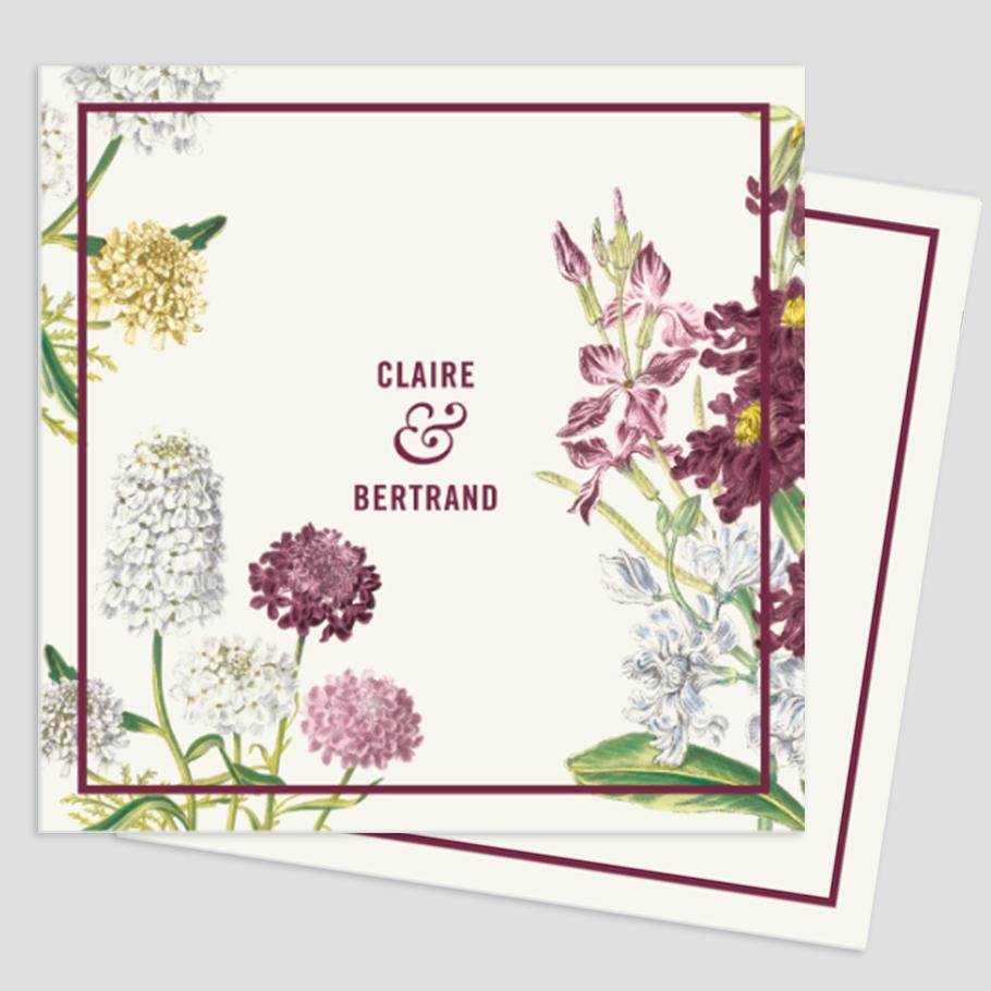 Invitation de mariage, jardin botanique, fleurs tons rose et vert avec des notes de jaune.